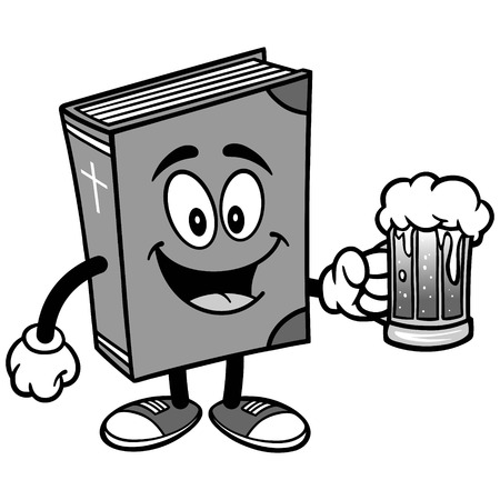 Bible Mascot with Beer Illustration