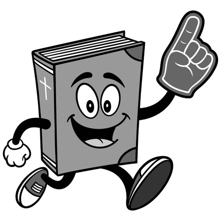 Bible School Mascot Running with Foam Finger Illustration