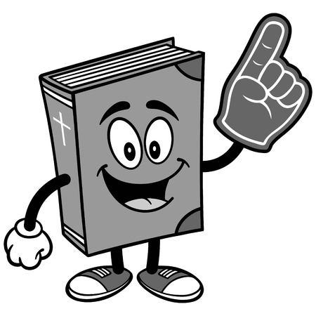 Bible School Mascot with Foam Finger Illustration