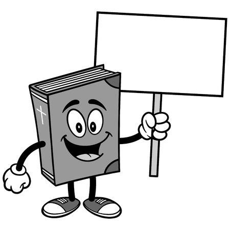 Bible School Mascot Sign Illustration Çizim