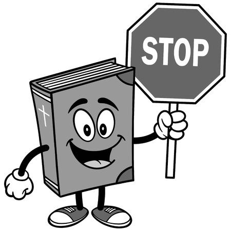 Bible School Mascot with Stop Sign Illustration Çizim