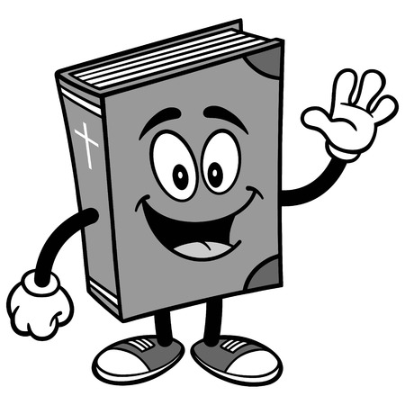 Bible School Mascot Waving Illustration Çizim