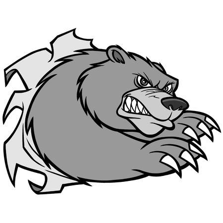 Bear Mascot Attack Illustration