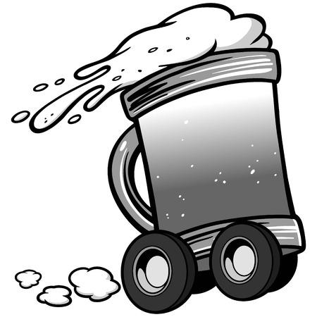 Beer Delivery Service Illustration Çizim