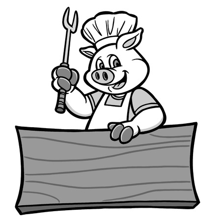 BBQ Pig with Sign Illustration