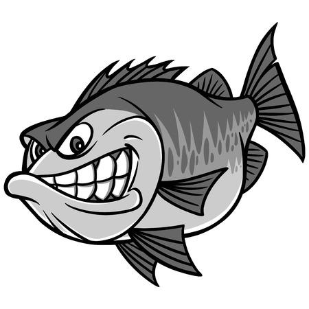 Bass Fishing Mascot Illustration Çizim