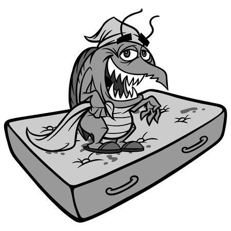 Bed Bug on Mattress Illustration