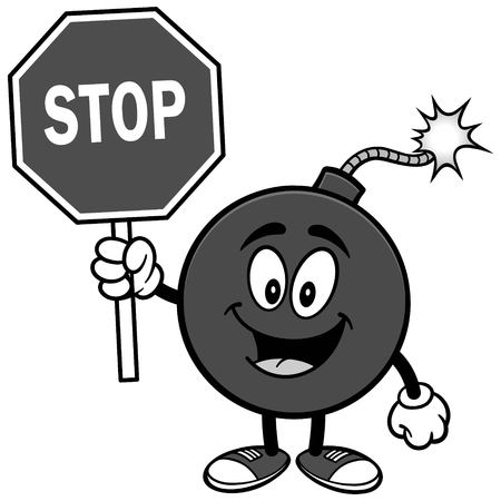 Bomb mascot with stop sign illustration