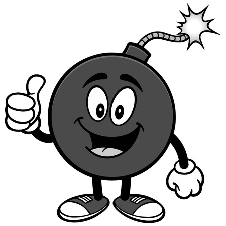 Bomb mascot with thumbs up illustration