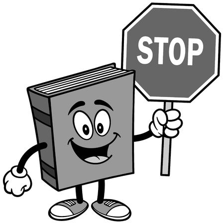 Book with Stop Sign Illustration isolated on white background, vector illustration.