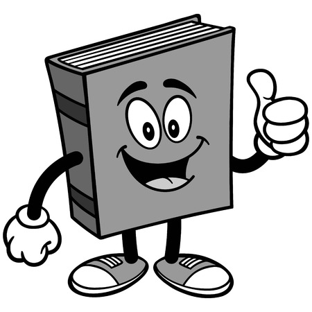 Book with Thumbs Up Illustration isolated on white background, vector illustration.
