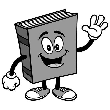 Book Waving Illustration isolated on white background, vector illustration.