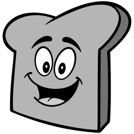 Bread Slice Mascot Illustration