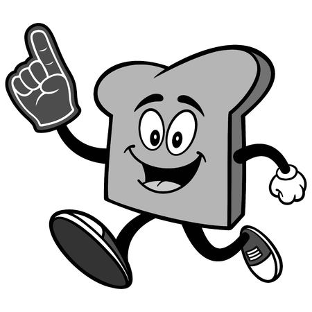 Bread Slice Running with Foam Finger Illustration