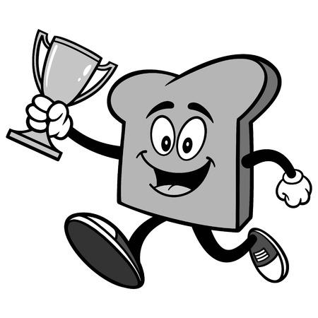 Bread Slice Running with Trophy Illustration Illustration