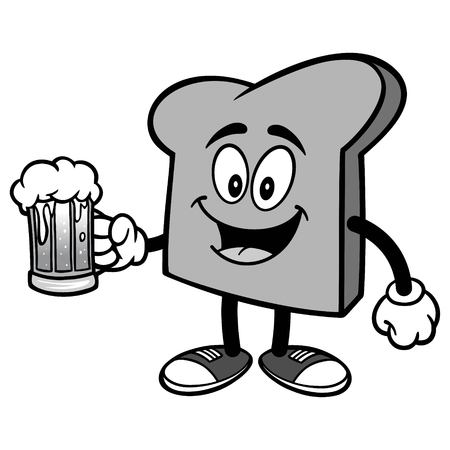 Bread Slice with Beer Illustration