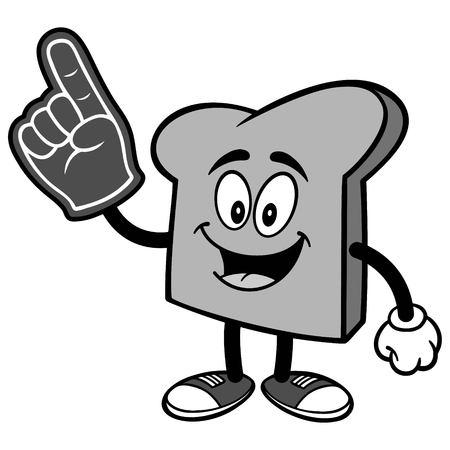 Bread Slice with Foam Finger Illustration