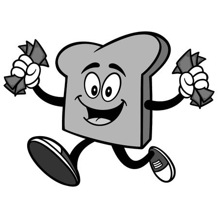 Bread Slice Running with Money Illustration Illustration