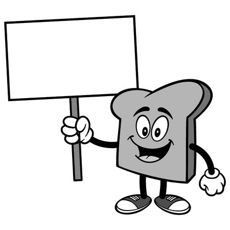 Bread Slice with Sign Illustration