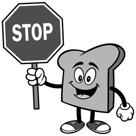 Bread Slice with Stop Sign Illustration