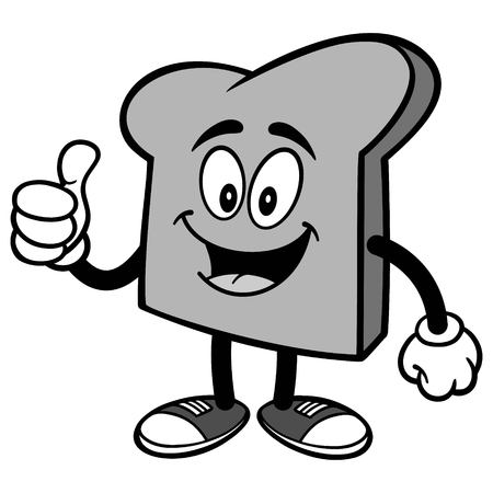 Bread Slice with Thumbs Up Illustration Ilustracja