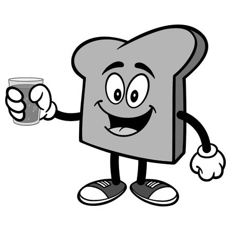 toasted: Bread Slice with Water Illustration