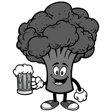 Broccoli with beer illustration