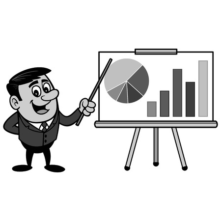 Businessman with sales pitch presentation illustration