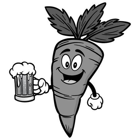 Carrot with beer illustration Иллюстрация