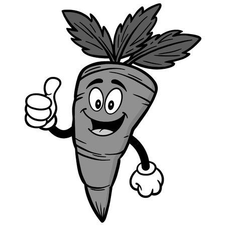 Carrot with thumbs up illustration