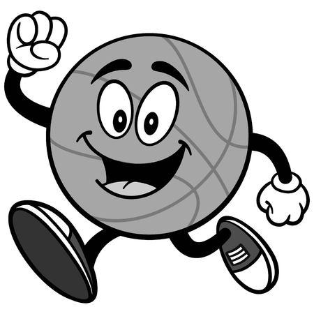 Cartoon basketball running illustration