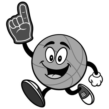 Cartoon basketball running with foam finger illustration