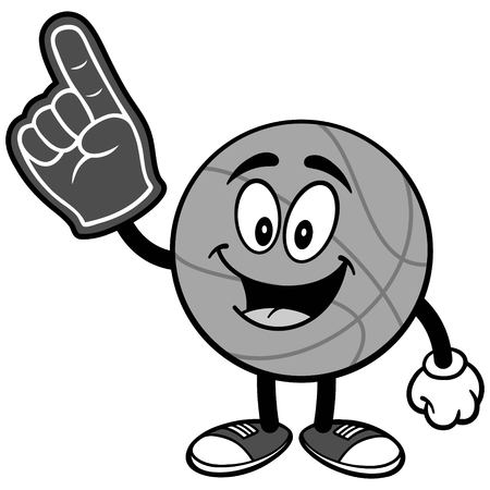 Cartoon basketball with foam finger illustration