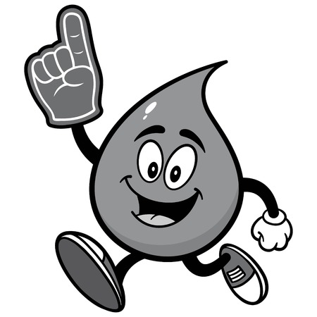 Water drop running with foam finger illustration