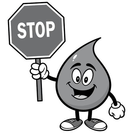 一時停止の標識の図で水ドロップ