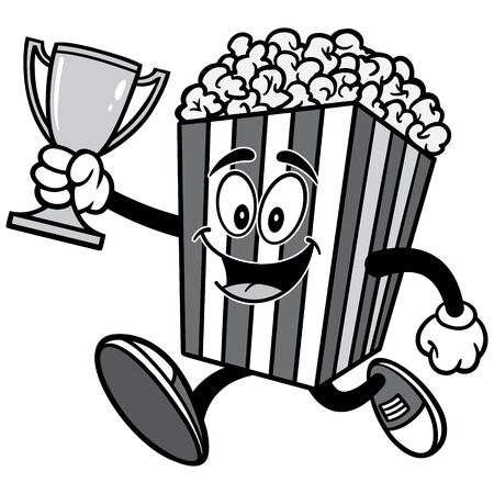 Popcorn Running with Trophy Illustration