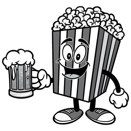 Popcorn with Beer Illustration