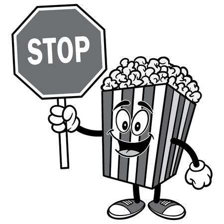 Popcorn with Stop Sign Illustration