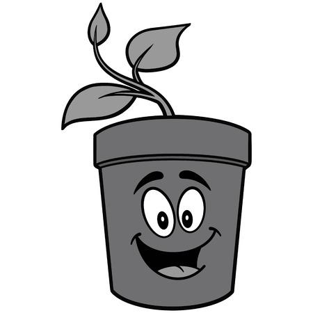 Potted Plant Mascot Illustration Ilustração