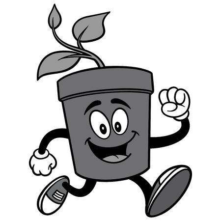 Potted Plant Running Illustration