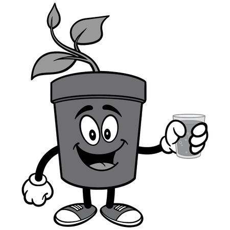Potted Plant with Water Illustration Ilustração