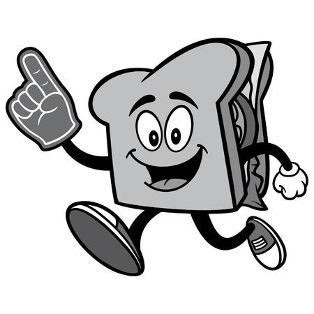 Sandwich läuft mit Schaum Finger Illustration Standard-Bild - 84808728