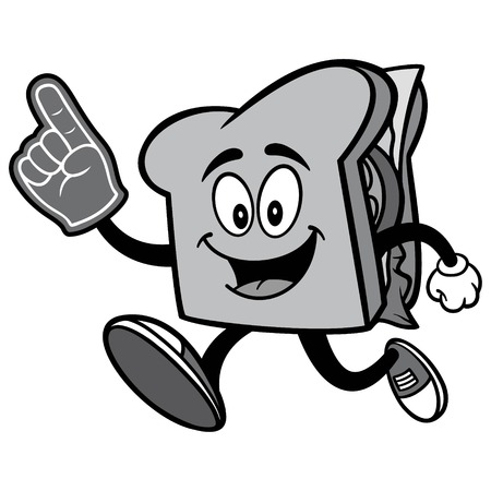 Sandwich Running with Foam Finger Illustration