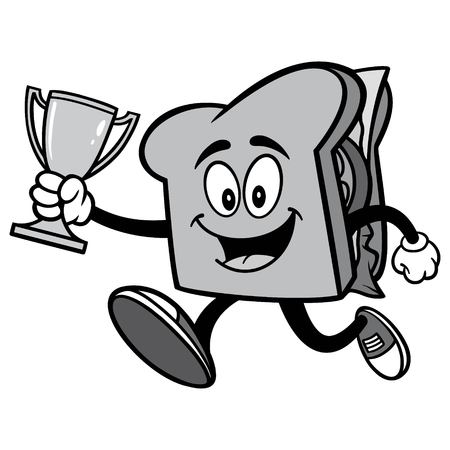 Sandwich Running with Trophy Illustration