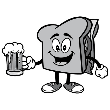 Sandwich with Beer Illustration