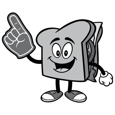 Sandwich with Foam Finger Illustration Stock Illustratie