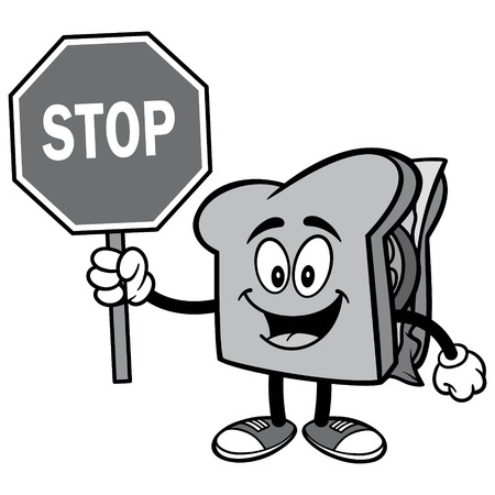 Sandwich with Stop Sign Illustration