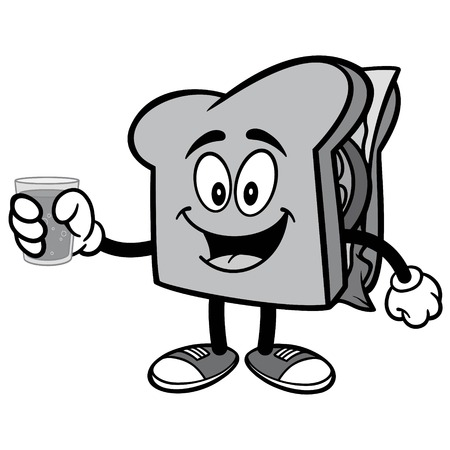 Sandwich with Water Illustration
