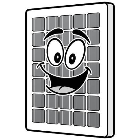 태양 전지 패널 마스코트 일러스트 레이션 일러스트