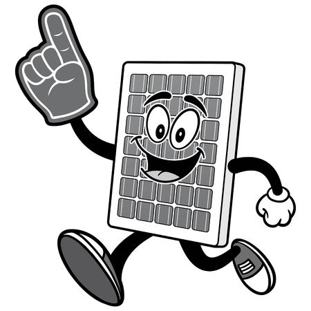 거품 손가락 일러스트와 함께 실행하는 태양 전지 패널